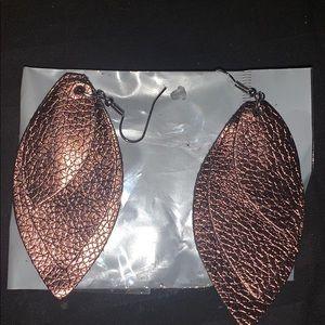 Beautiful bronze leather dangle earrings